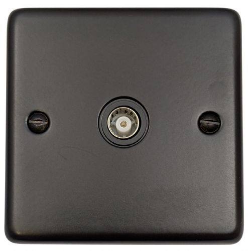 G&H CFB35B Standard Plate Matt Black 1 Gang TV Coax Socket Point